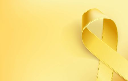 Childhood Cancer Awareness Ribbon. Realistic yellow ribbon, childhood cancer awareness symbol, isolated on yellow background. Vector illustration