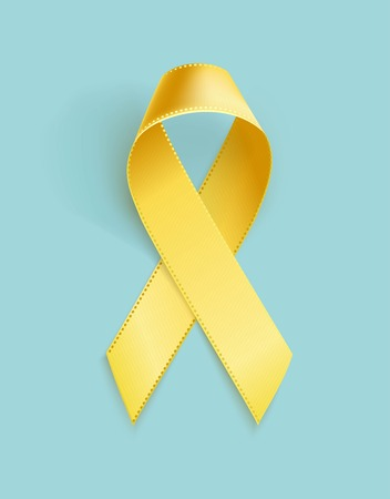 Childhood Cancer Awareness Ribbon. Realistic yellow ribbon, childhood cancer awareness symbol, isolated on blue. Vector illustration