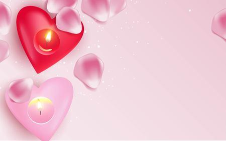 Pink burning heart shaped candles and rose petals over pink background. Vector illustration Illustration
