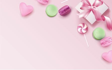 Colorful macaroons and gift box on pink background. Vector illustration Çizim