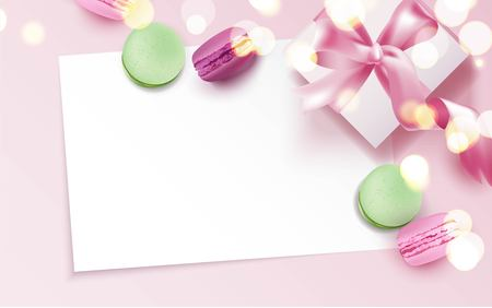Colorful macaroons and gift box on pink background. Stock Illustratie