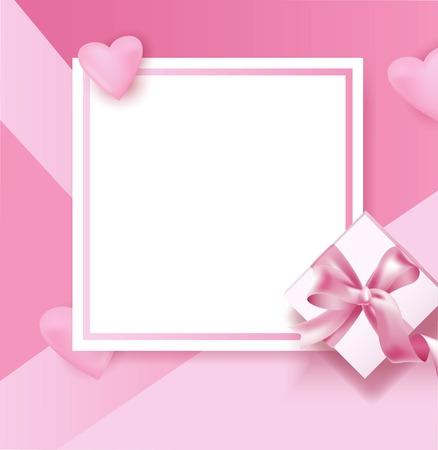 Romantic frame for Valentine day, poster template. Vector illustration Çizim