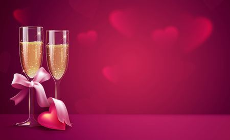 Two glasses of champagne with pink ribbon on pink background. Beautiful romantic background with place for text for Valentines day. Vetor illustration Çizim