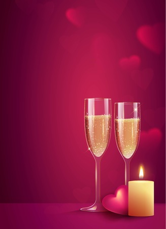 Two glasses of champagne with burning candle on pink background. Beautiful romantic background with place for text for Valentines day. Vetor illustration