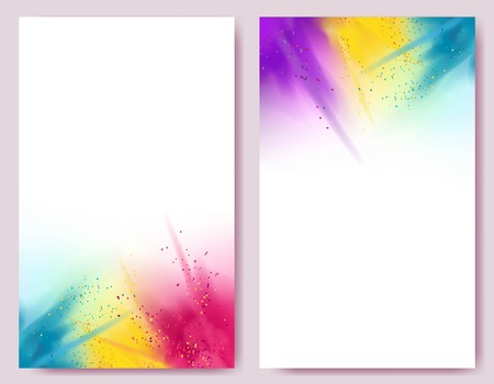 Realistic colorful paint powder explosions on white background. Happy abstract designs.