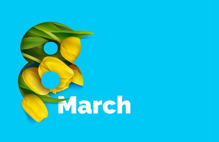 8 March card with yellow tulips in the style of cut paper. International womens day greeting card.  Vector illustration Illustration