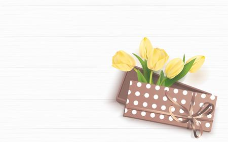 Bunch of spring yellow tulips in gift box on white wooden background. Vector illustration