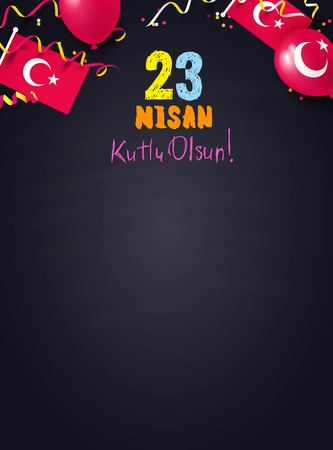 A  23 April National Sovereignty and Childrens Day in Turkey. Festive background top view Vector illustration