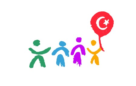A 23 April National Sovereignty and Childrens Day in Turkey. Vector illustration