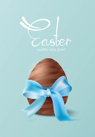 Easter background with chocolate egg and blue bow on blue background. Vector illustration