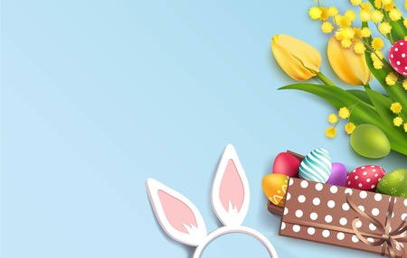 Easter colorful eggs in gift box, flowers and bunny ears on blue background. Illustration