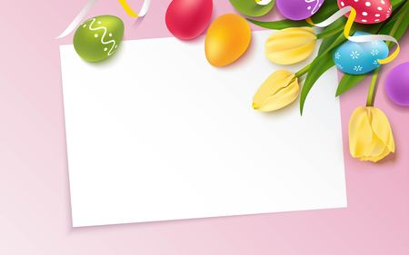 Colorful easter eggs, bunch of yellow tulips on pink background. Beautiful spring background with place for text. Vector illustration Ilustração
