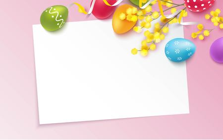 Colorful Easter eggs and mimosa branch on pink background. Illustration