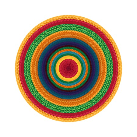 Sombrero or  mexican hat isolated. Top view. Vector illustration.
