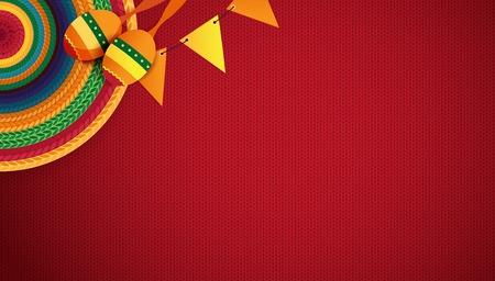 Fondo de vacaciones mexicanas. Sombrero, macaras sobre fondo rojo. Vista superior. Ilustración vectorial