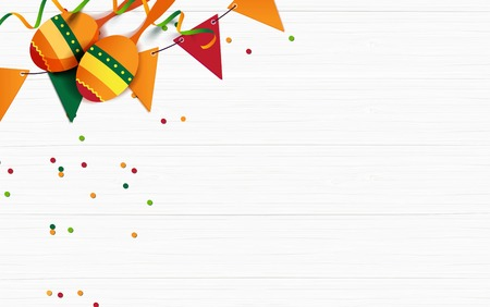Mexican holiday background. Bunting flags, macaras, confetti on white wooden background. Top view. Vector illustration