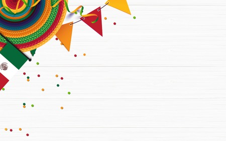 Mexican holiday background. Sombrero, mexican flag, confetti on white wooden background. Top view. Vector illustration Ilustração