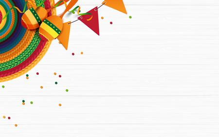 Mexican holiday background. Sombrero, macaras, confetti on white wooden background. Top view. Vector illustration