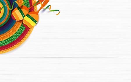Fond de vacances mexicain. Sombrero, macaras sur fond de bois blanc. Vue de dessus. Illustration vectorielle Vecteurs
