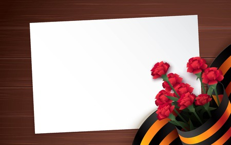 Black and orange ribbon of St George and red carnations on brown wooden background. May 9 russian holiday victory day. Vector illustration
