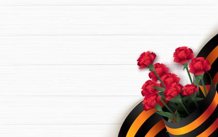 Black and orange ribbon of St George and red carnations on white wooden background. May 9 russian holiday victory day. Vector illustration