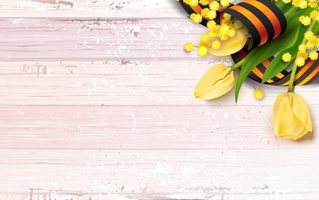 Black and orange ribbon of St George , yellow tulips and mimosa branch  on pink shabby wooden background. May 9 russian holiday victory day. Vector illustration 向量圖像