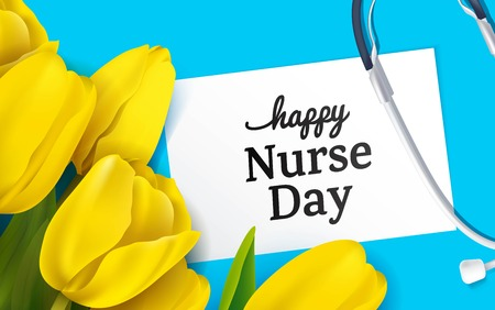 Yellow tulips and stethoscope on blue background. Top view. Happy nurse day concept. Vector illustration Stock Illustratie