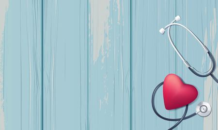 Pink heart and stethoscope on blue wooden background. Happy nurse day concept. Vector illustration