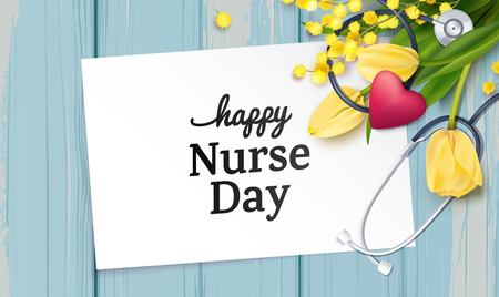 Bunch of yellow tulips, mimosa branch and stethoscope on blue wooden background. Happy international nurse day. Vector illustration
