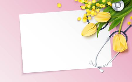 Bunch of yellow tulips, mimosa branch and stethoscope on pink background. Happy nurse day. Vector illustration