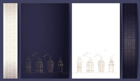 Ramadan kareem posters collection with golden pattern and lanterns.  White, blue, gold colors. Vector illustration