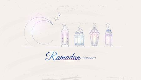 Hand Drawn Illusration of Ramadan Lanterns with Lights on Shabby Background. Vector Illustration