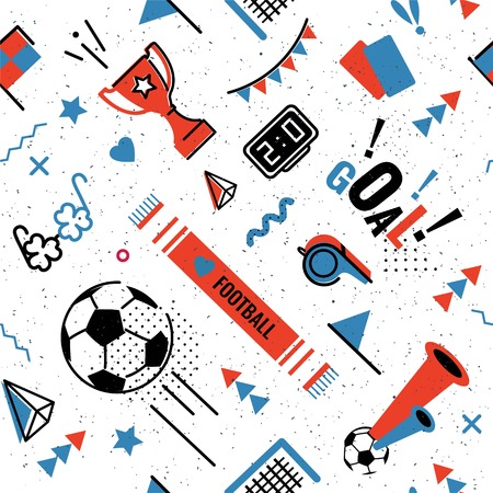 Soccer game abstract background in memphis style.