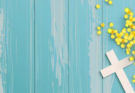 Biały krzyż i mimozy na niebieskim tle rustykalnym drewniane. Ilustracje wektorowe