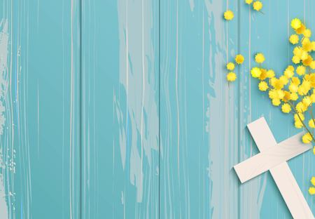 White cross and mimosa on blue rustic wooden background. Stock Illustratie