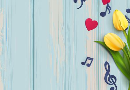 Music notes and yellow tulips on blue wooden background. Stock Illustratie