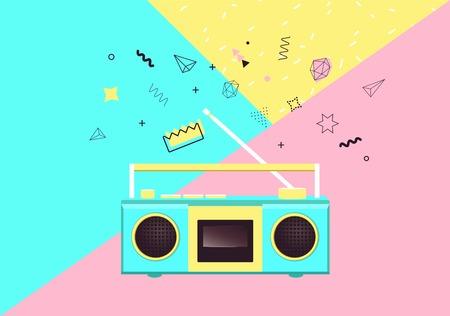 Radio on colorful background vector illustration