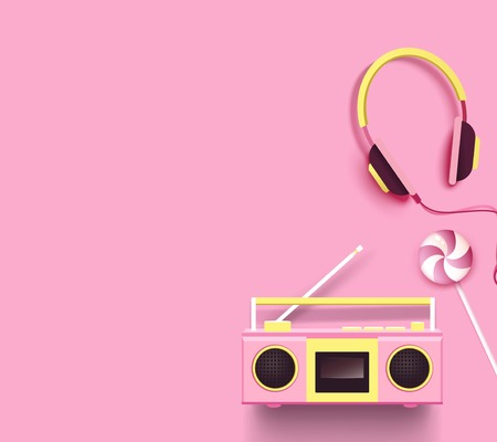 Radio, headphones and candy on pink background. 일러스트