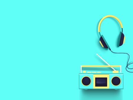 Radio and headphones on turquoise background. Illustration