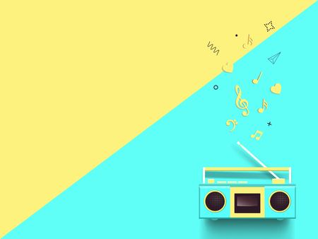 Radio and music notes on colorful background. Illustration