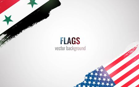 Flags of USA and Syria isolated on white background. Vector illustration
