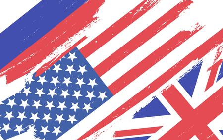 Flags of USA, Russia and Great Britain isolated on white background. Vector illustration