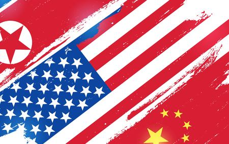 Flags of USA, China and North Korea isolated on white background. Vector illustration