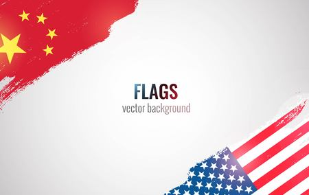 Flags of USA and China isolated on white background. Vector illustration  イラスト・ベクター素材