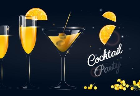 Glasses of cocktails on dark background. Vector illustration