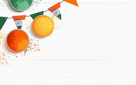 India independence day celebration background with bunting flags and holi powder. Festive frame flat lay. Vector illustration