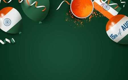15 August.India independence day celebration background with balloons, flag and holi powder. Festive frame flat lay. Vector illustration Illustration