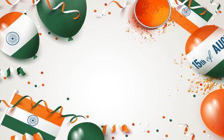 15 August.India independence day celebration background with balloons, flag and holi powder. Festive frame flat lay. Vector illustration Ilustração