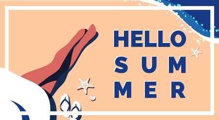 Young woman lying on tropical beach, Hello summer poster. Vector illustration