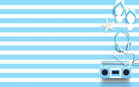 Summer marine background with boombox, headphones, flip-flops and starfish. Vector illustration Ilustração